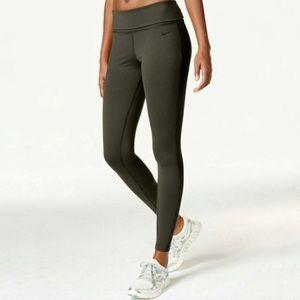 Nike green black stripe high waist fold down pants